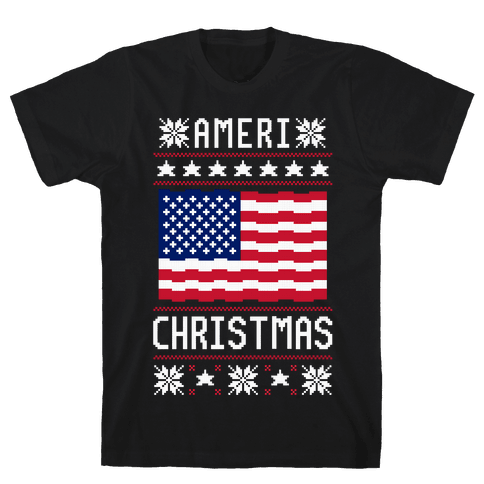 Ameri' Christmas Ugly Sweater Mens T-Shirt