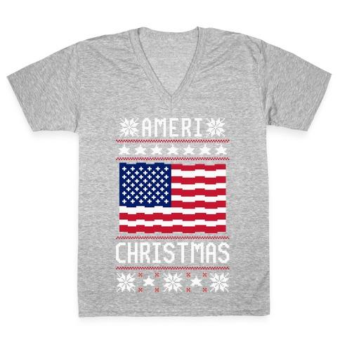 Ameri' Christmas Ugly Sweater V-Neck Tee Shirt