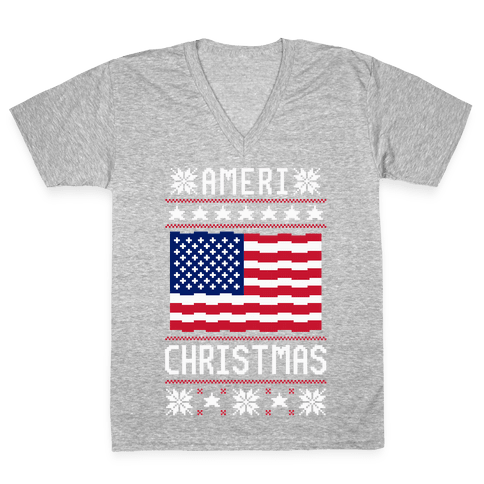 Ameri' Christmas Ugly Sweater V-Neck Tee Shirt