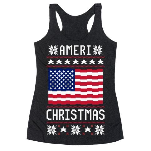 Ameri' Christmas Ugly Sweater Racerback Tank Top
