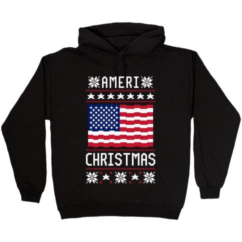 Ameri' Christmas Ugly Sweater Hooded Sweatshirt