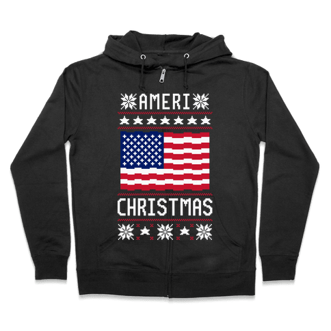 Ameri' Christmas Ugly Sweater Zip Hoodie