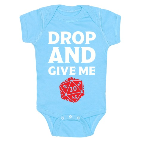 Drop And Give Me D20 Baby Onesy