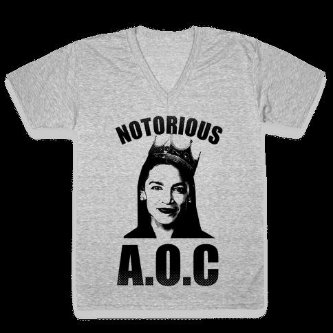Notorious AOC (Alexandria Ocasio-Cortez) V-Neck Tee Shirt