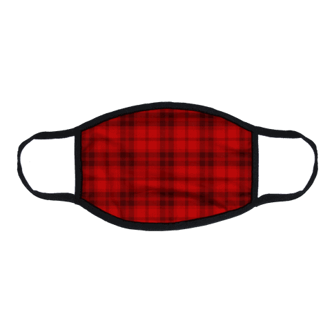 Red Plaid Flat Face Mask