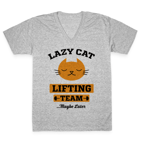 Lazy Cat Lifting Team V-Neck Tee Shirt