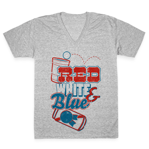 Red, White, and Blue V-Neck Tee Shirt