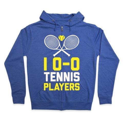 I Love Tennis Players Zip Hoodie