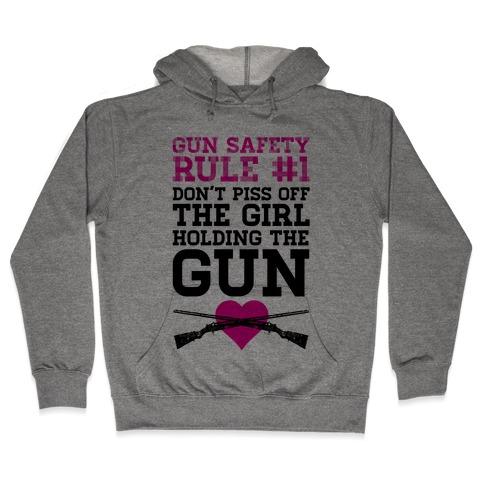 Rule One of Gun Safety Hooded Sweatshirt