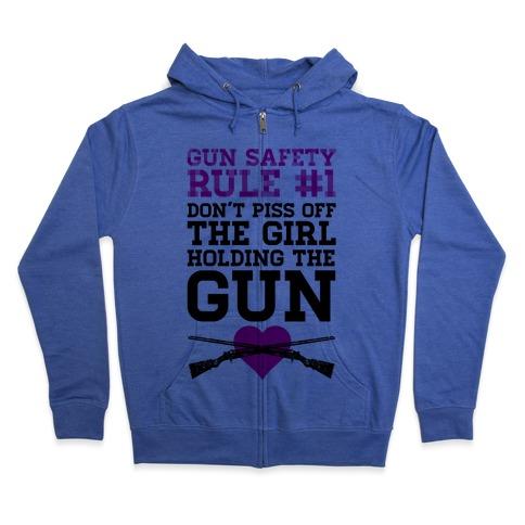 Rule One of Gun Safety Zip Hoodie