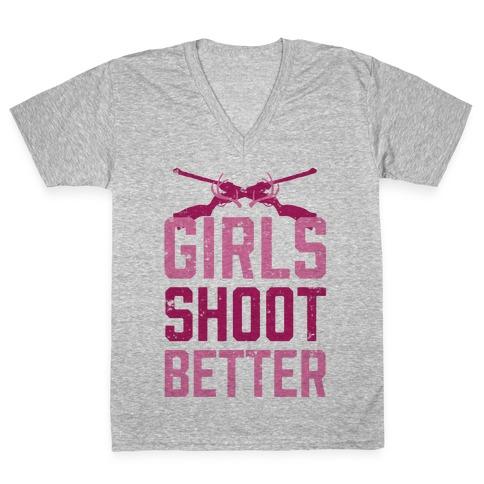 Girls Shoot Better (Rifle) V-Neck Tee Shirt