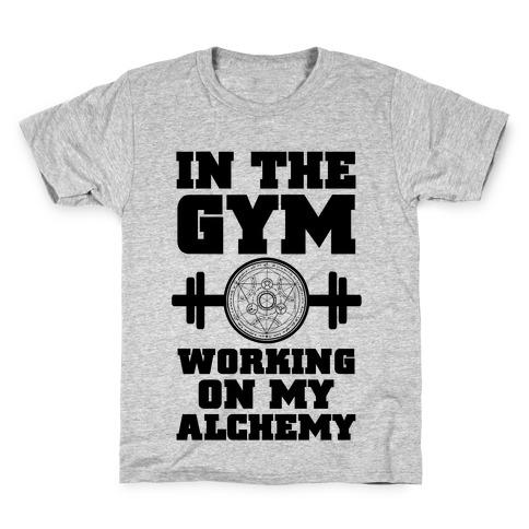 In the Gym Working on my Alchemy Kids T-Shirt