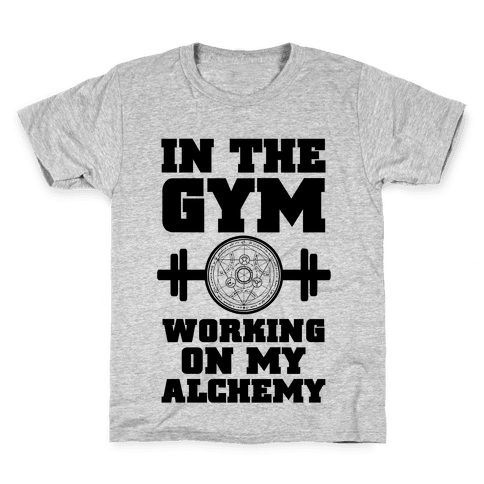 In the Gym Working on my Alchemy Kids T-Shirt