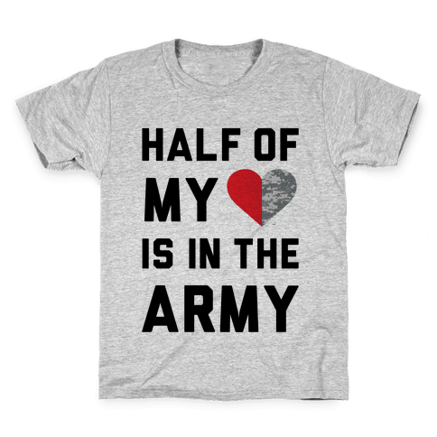 Half My Heart Is In The Army (Army Baseball Tee) Kids T-Shirt