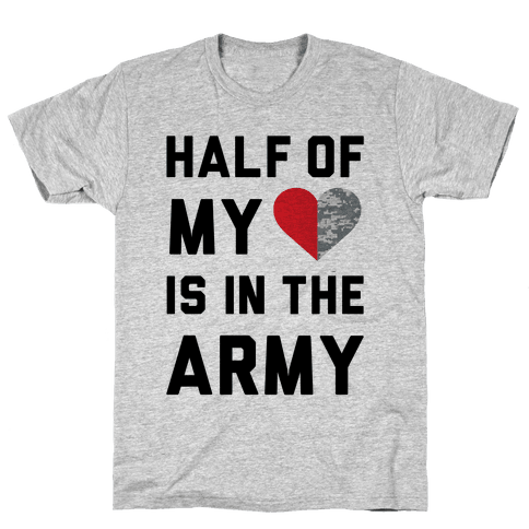Half My Heart Is In The Army (Army Baseball Tee) Mens T-Shirt
