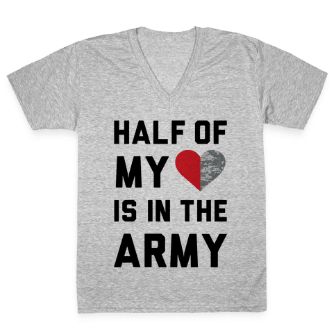 Half My Heart Is In The Army (Army Baseball Tee) V-Neck Tee Shirt