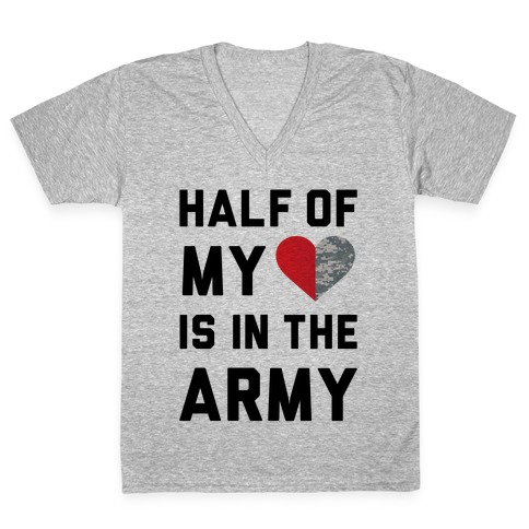 fa8cd6a99907c6 Half My Heart Is In The Army (Army Baseball Tee) V-Neck Tee | Merica Made