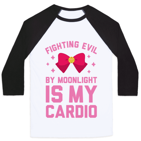 My Cardio is Fighting Evil by Moonlight Baseball Tee