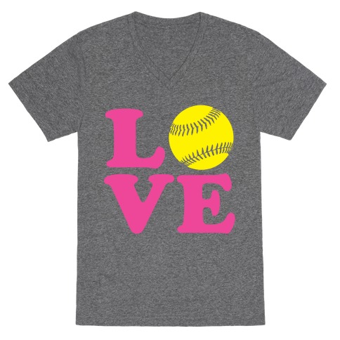 Love Softball V-Neck Tee Shirt