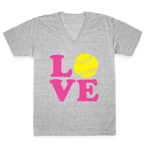 Love Softball V-Neck Tee Shirt