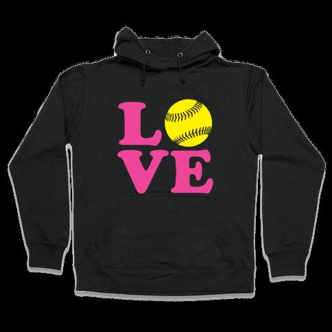 Love Softball Hooded Sweatshirt