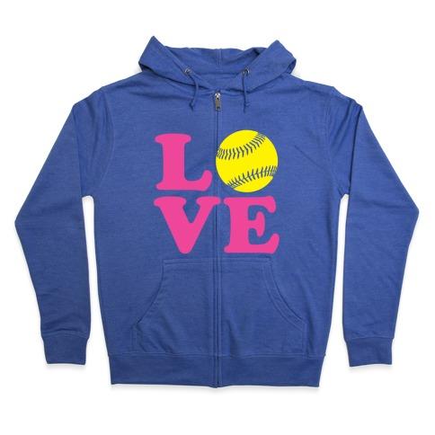 Love Softball Zip Hoodie