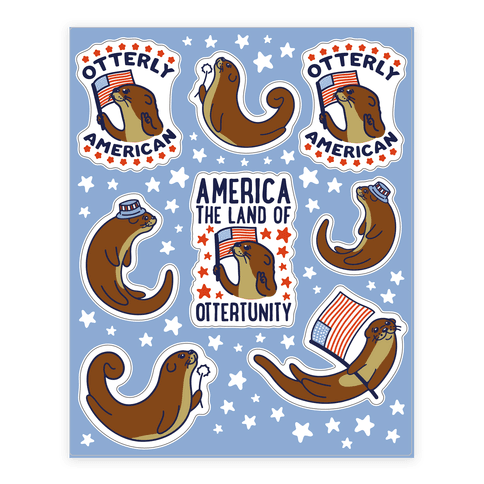 Otterly American  Sticker/Decal Sheet