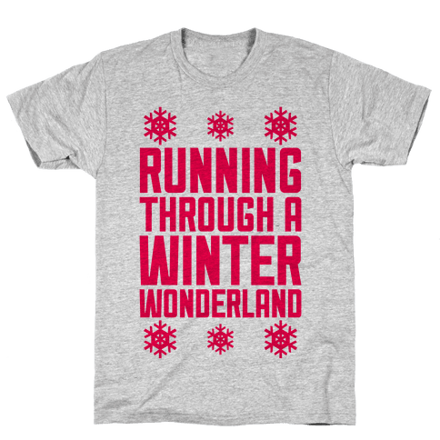 Running Through A Winter Wonderland Mens T-Shirt