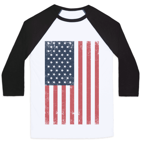 American Flag Distressed (Patriotic T-Shirt) Baseball Tee