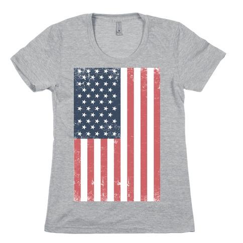 American Flag Distressed (Patriotic T-Shirt) Womens T-Shirt