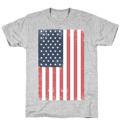 American Flag Distressed (Patriotic T-Shirt) Mens T-Shirt