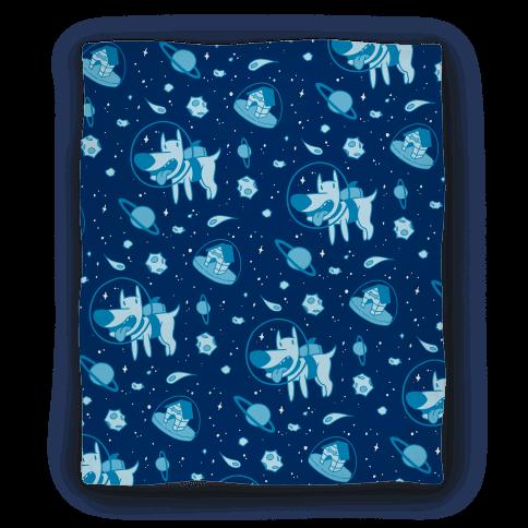 Human blast off space dog homedecor blanket for Space design blanket