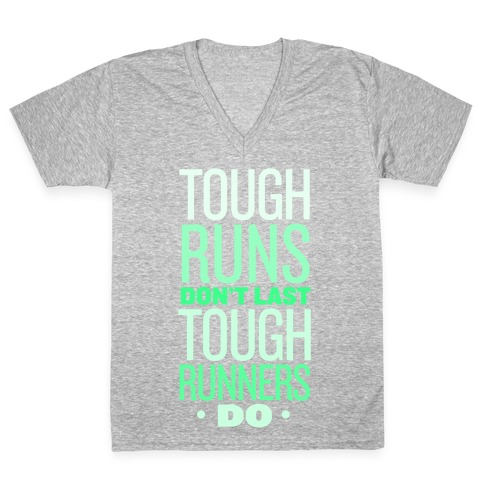 Tough Runners (Green) V-Neck Tee Shirt