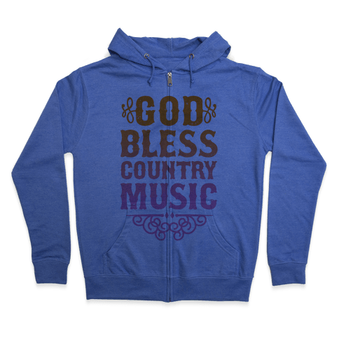 God Bless Country Music Zip Hoodie