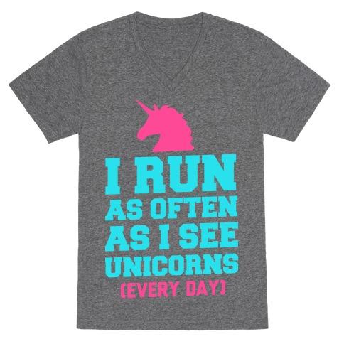 I Run as Often as I See Unicorns V-Neck Tee Shirt