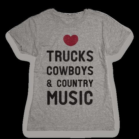 Trucks Cowboys & Country ( Baseball Tee) Womens T-Shirt