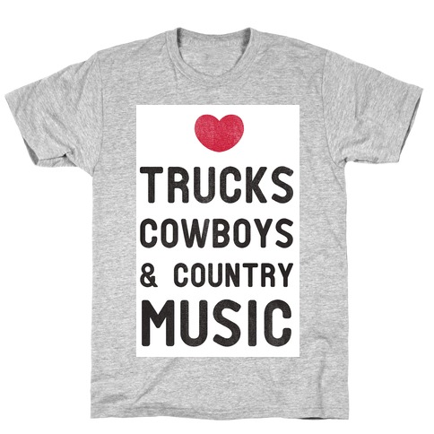 Trucks Cowboys & Country ( Baseball Tee) Mens T-Shirt
