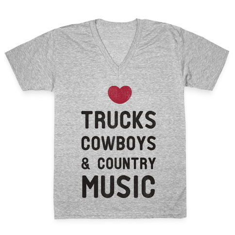 Trucks Cowboys & Country ( Baseball Tee) V-Neck Tee Shirt