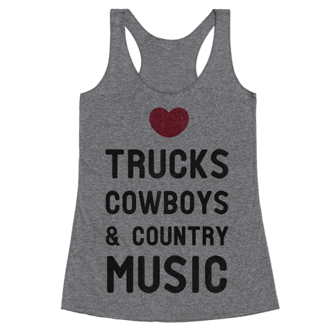 Trucks Cowboys & Country ( Baseball Tee) Racerback Tank Top