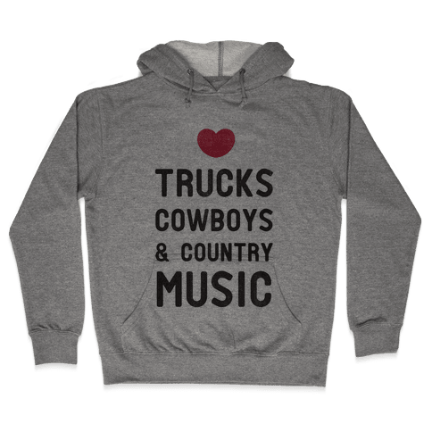 Trucks Cowboys & Country ( Baseball Tee) Hooded Sweatshirt