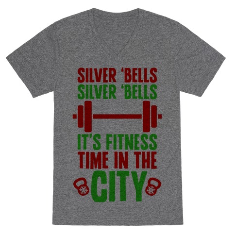 Silver Bells, Silver Bells, It's Fitness Time In The City V-Neck Tee Shirt