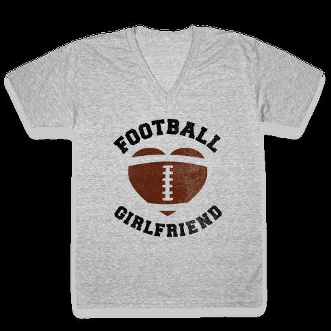 Football Girlfriend V-Neck Tee Shirt