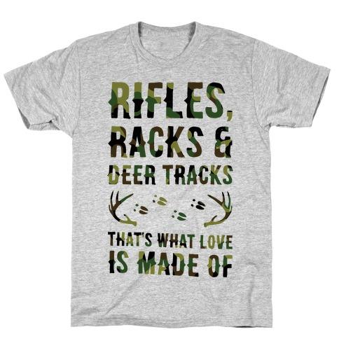 Rifle, Racks & Deer Tracks Mens T-Shirt