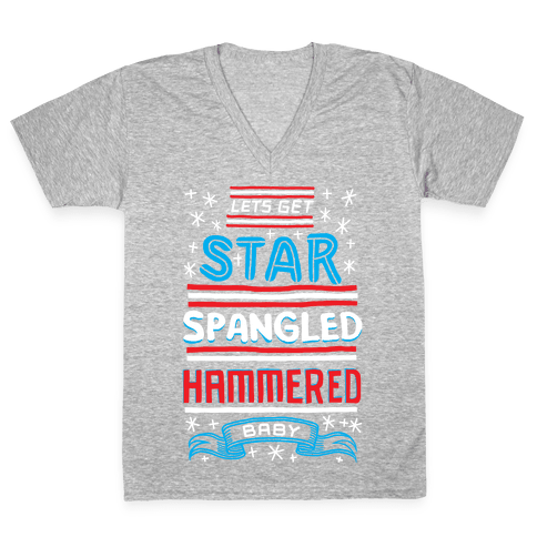 Star Spangled Hammered V-Neck Tee Shirt