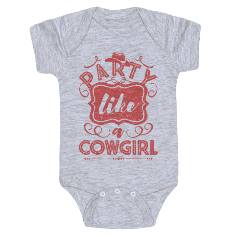 Party Like A Cowgirl Baby Onesy