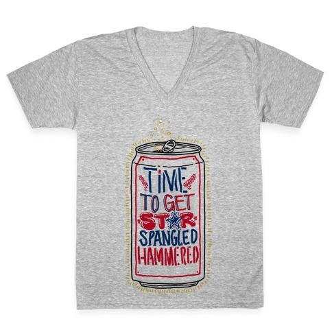 Time To Get Star Spangled Hammered V-Neck Tee Shirt