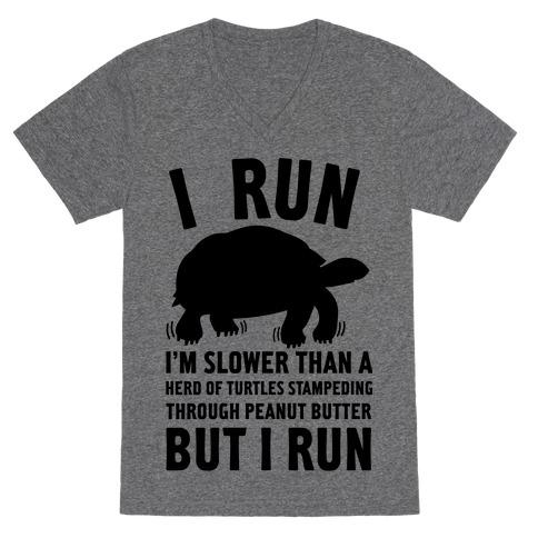 I Run Slower Than A Herd Of Turtles V-Neck Tee Shirt