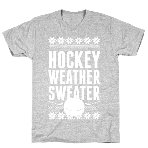 Hockey Weather Sweater (White Ink) Mens T-Shirt