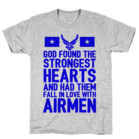 God Found The Strongest Hearts (Air Force Baseball Tee) Mens T-Shirt