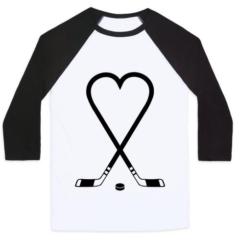 Hockey Love Baseball Tee